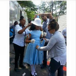 On set with the famous designer Ruth Carter with actress Trinity: i got to make one of the opening dresses for Selma.