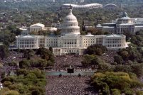 """This photograph taken from the top of the Washington Monument shows thousands of people on the Mall in front of the US Capitol during the """"Million Man March"""" in Washington D.C., on October 16, 1995. The march, called by Nation of Islam leader Louis Farrakhan, is intended as a day for black men to unite and pledge self-reliance and commitment to their families and communities. (Photo credit should read TIM SLOAN/AFP/Getty Images)"""