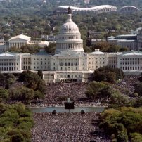 "This photograph taken from the top of the Washington Monument shows thousands of people on the Mall in front of the US Capitol during the ""Million Man March"" in Washington D.C., on October 16, 1995. The march, called by Nation of Islam leader Louis Farrakhan, is intended as a day for black men to unite and pledge self-reliance and commitment to their families and communities. (Photo credit should read TIM SLOAN/AFP/Getty Images)"